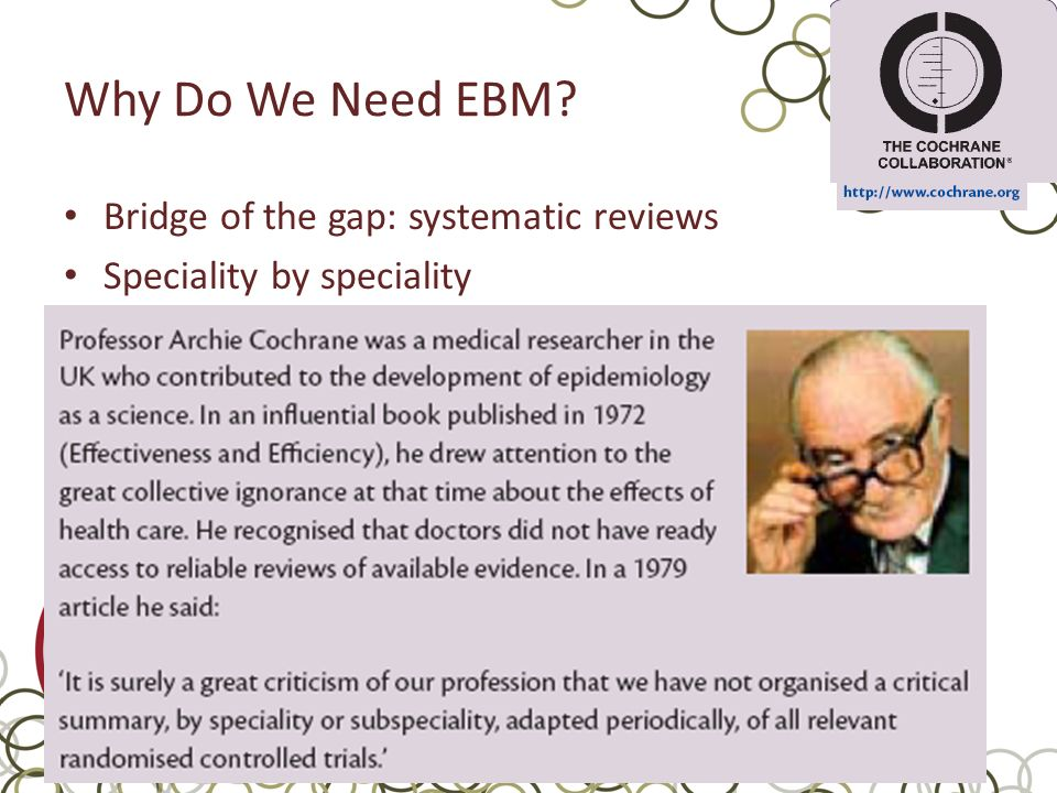 Why Do We Need EBM Bridge of the gap: systematic reviews