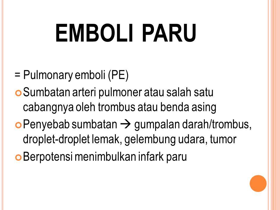 emboli paru = Pulmonary emboli (PE)