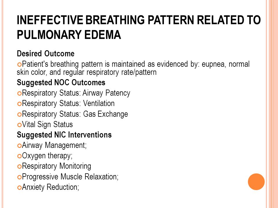 Ineffective breathing pattern related to pulmonary edema