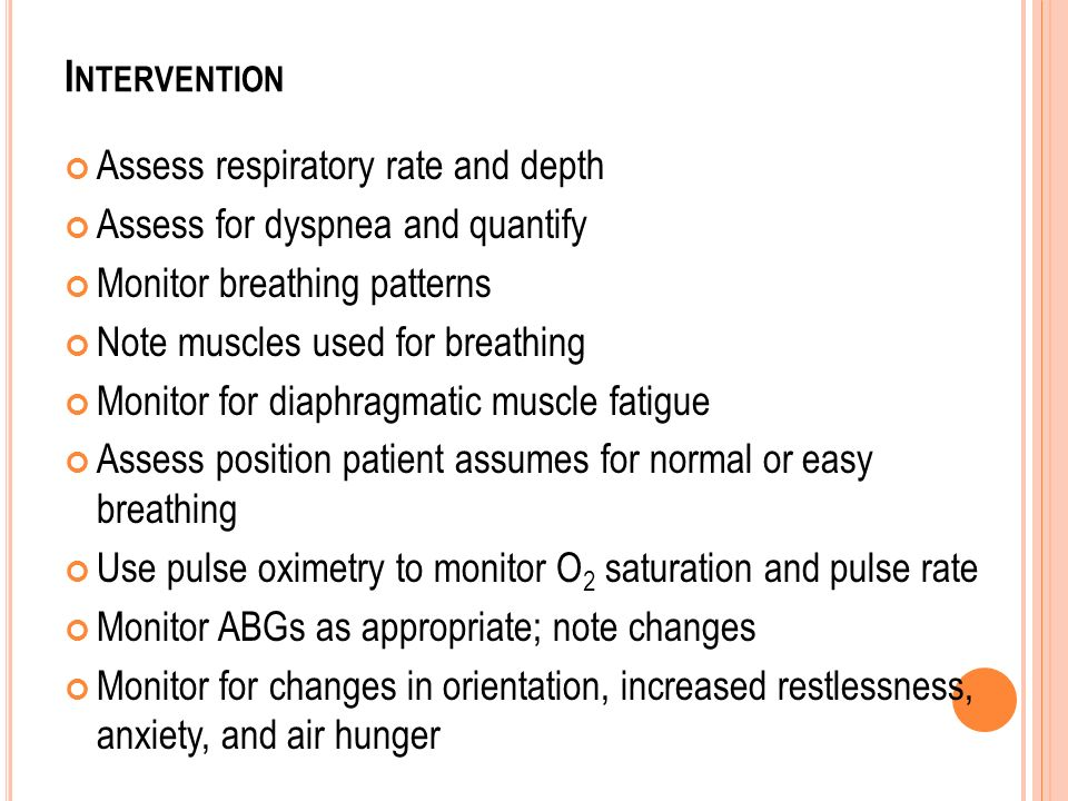 Intervention Assess respiratory rate and depth