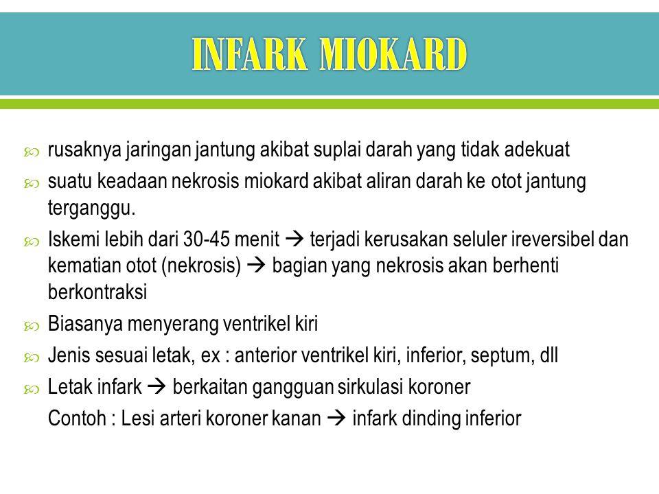 INFARK MIOKARD rusaknya jaringan jantung akibat suplai darah yang tidak adekuat.
