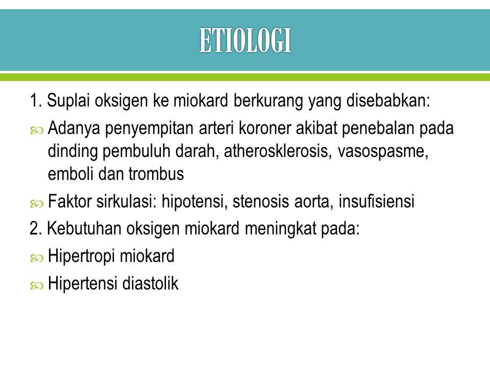 ETIOLOGI 1. Suplai oksigen ke miokard berkurang yang disebabkan:
