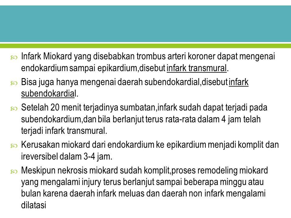 Infark Miokard yang disebabkan trombus arteri koroner dapat mengenai endokardium sampai epikardium,disebut infark transmural.