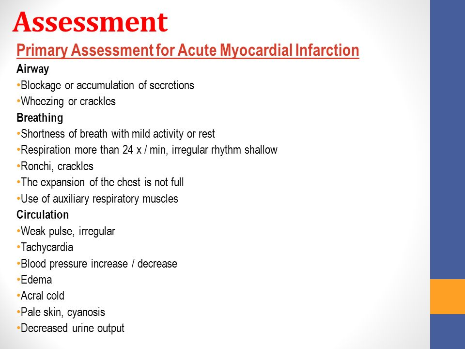 Assessment Primary Assessment for Acute Myocardial Infarction Airway