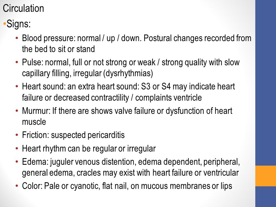 Circulation Signs: Blood pressure: normal / up / down. Postural changes recorded from the bed to sit or stand.