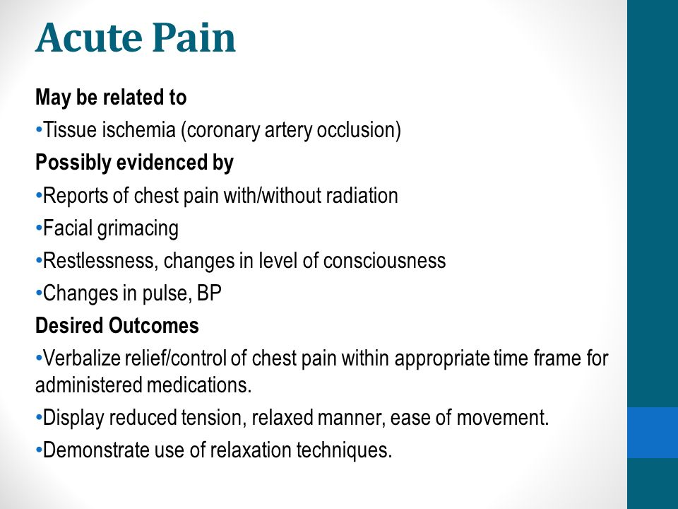 Acute Pain May be related to