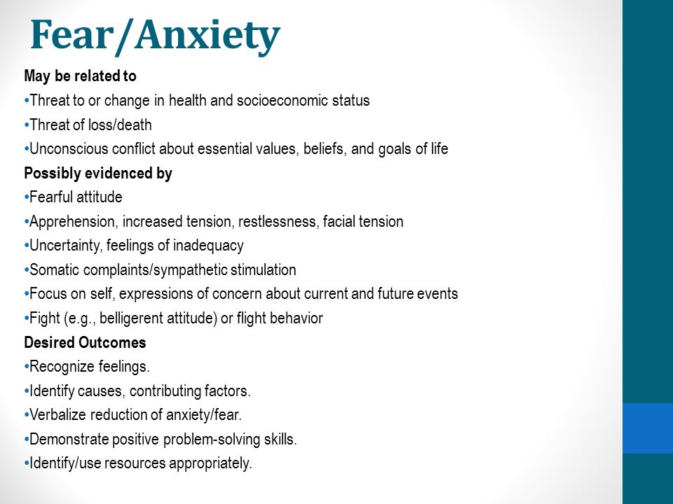 Fear/Anxiety May be related to