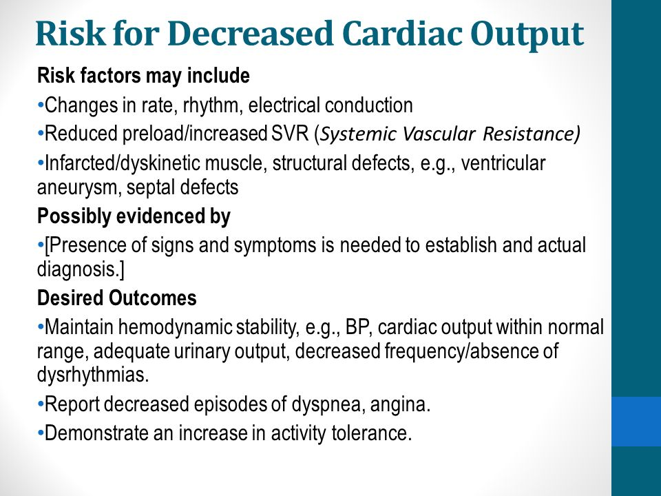 Risk for Decreased Cardiac Output