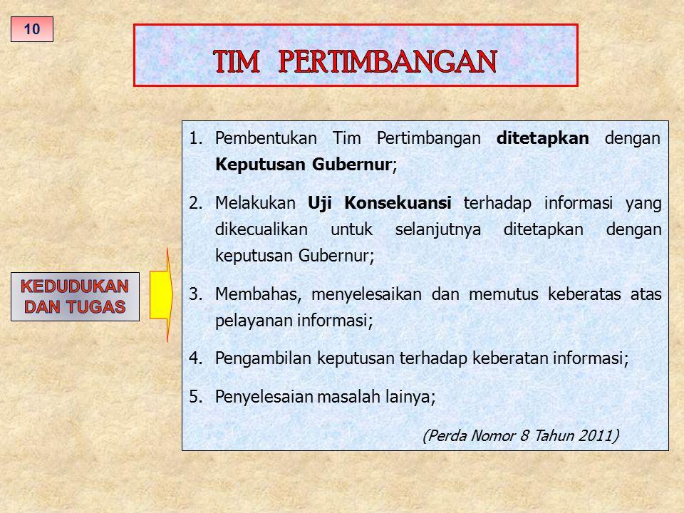 10 TIM PERTIMBANGAN. Pembentukan Tim Pertimbangan ditetapkan dengan Keputusan Gubernur;
