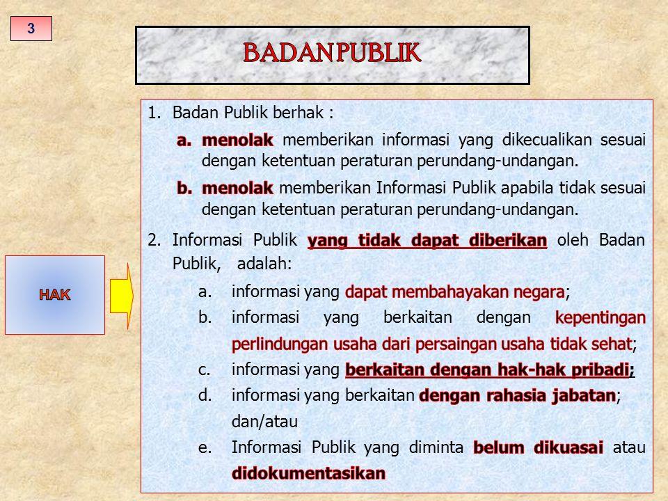 BADAN PUBLIK Badan Publik berhak :