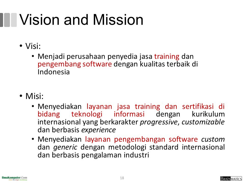 Vision and Mission Visi: Misi: