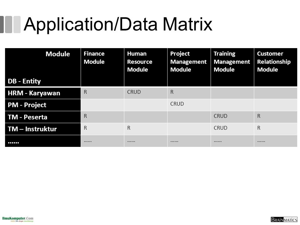Application/Data Matrix