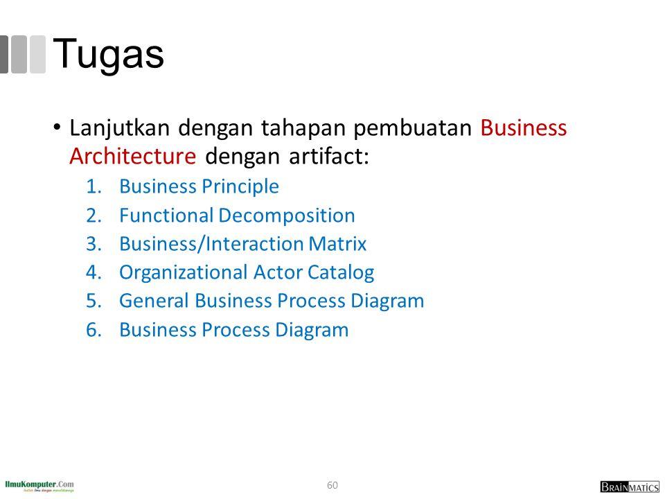 Tugas Lanjutkan dengan tahapan pembuatan Business Architecture dengan artifact: Business Principle.