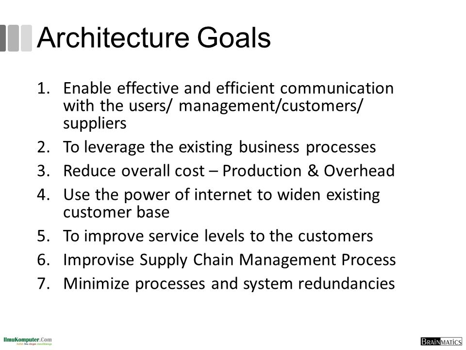 Architecture Goals Enable effective and efficient communication with the users/ management/customers/ suppliers.