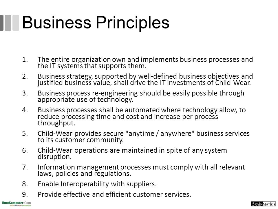 Business Principles The entire organization own and implements business processes and the IT systems that supports them.