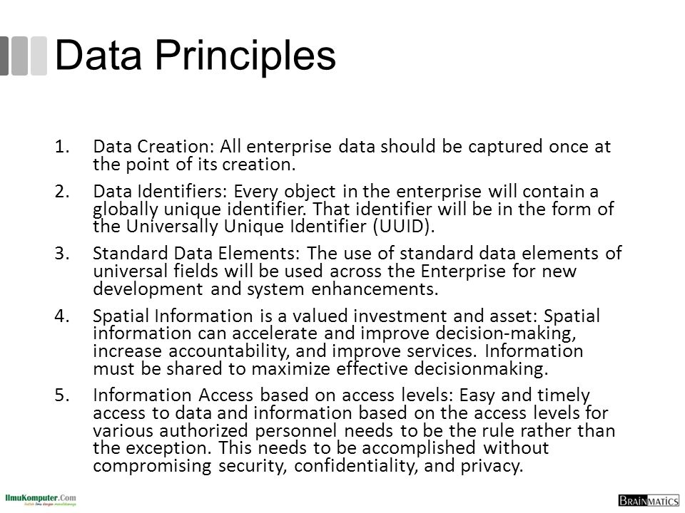 Data Principles Data Creation: All enterprise data should be captured once at the point of its creation.