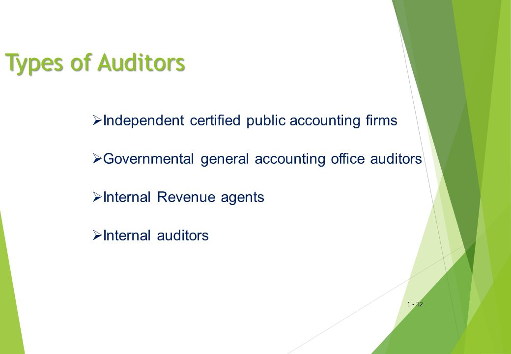 Types of Auditors Independent certified public accounting firms