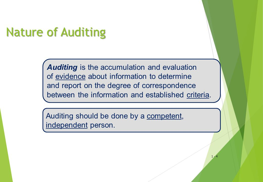 Nature of Auditing Auditing is the accumulation and evaluation