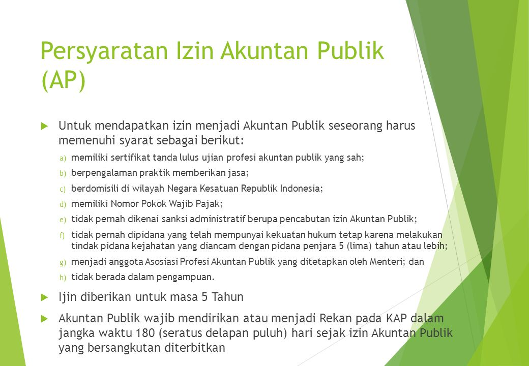 Persyaratan Izin Akuntan Publik (AP)