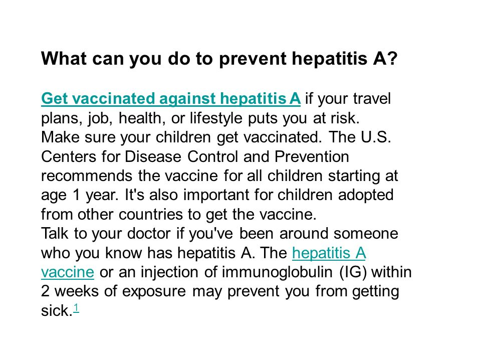 What can you do to prevent hepatitis A