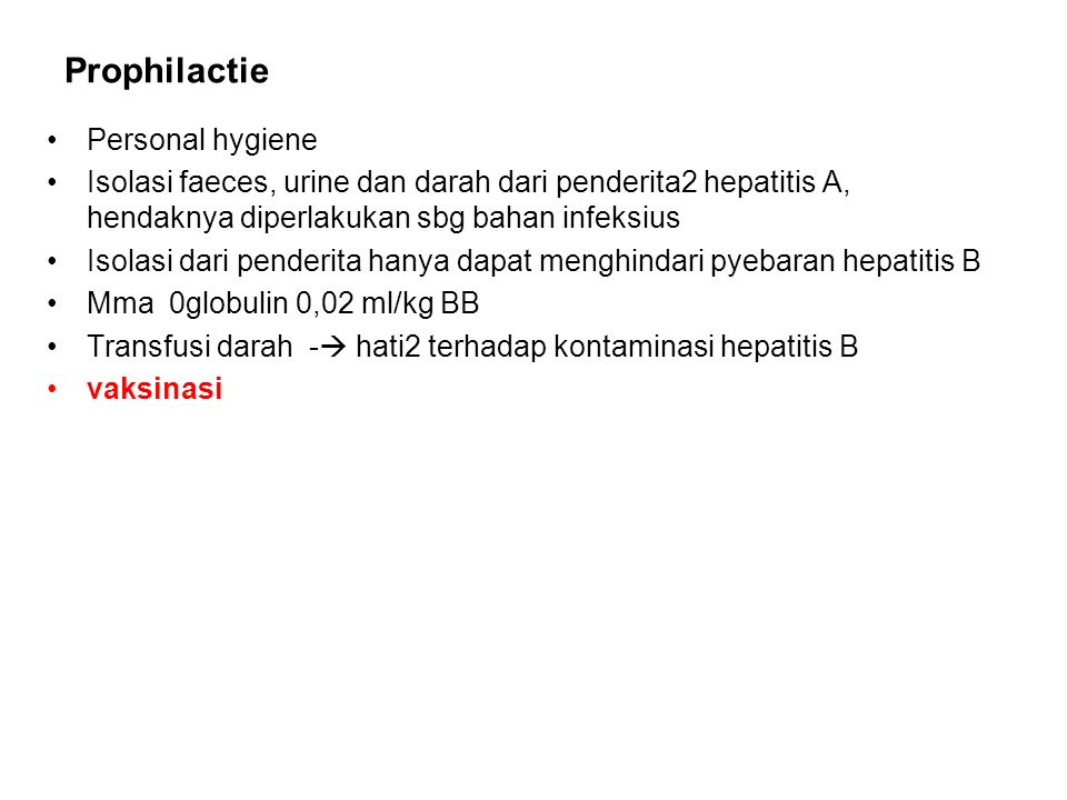 Prophilactie Personal hygiene