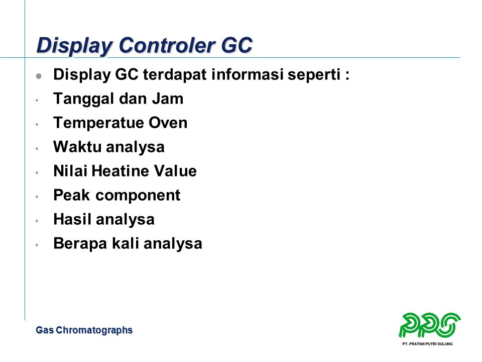 Display Controler GC Display GC terdapat informasi seperti :