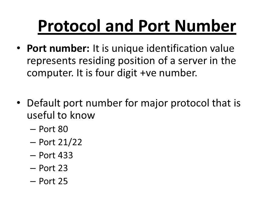 Protocol and Port Number