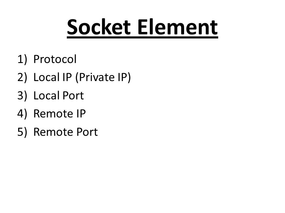 Socket Element Protocol Local IP (Private IP) Local Port Remote IP