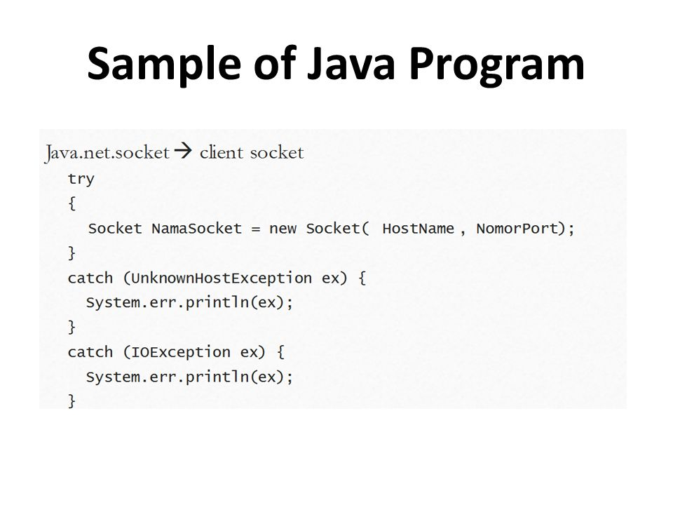 Sample of Java Program