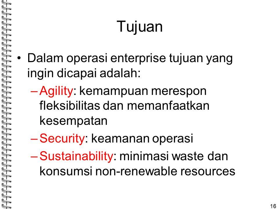 Tujuan Dalam operasi enterprise tujuan yang ingin dicapai adalah:
