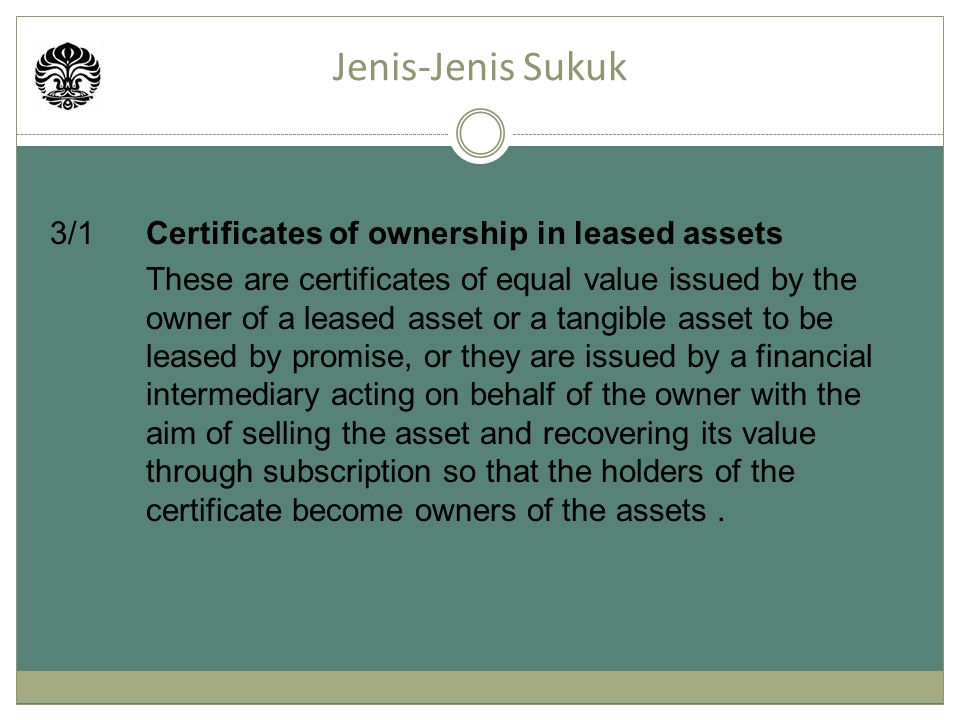 Jenis-Jenis Sukuk 3/1 Certificates of ownership in leased assets