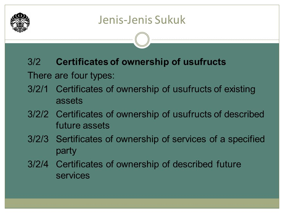 Jenis-Jenis Sukuk 3/2 Certificates of ownership of usufructs