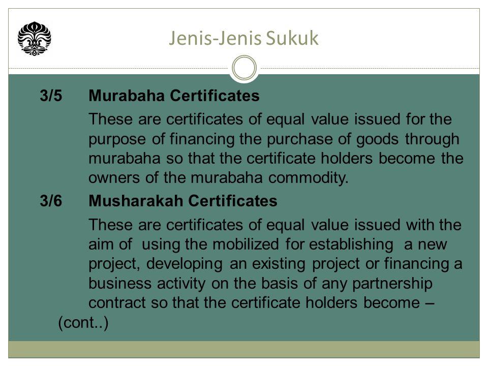 Jenis-Jenis Sukuk 3/5 Murabaha Certificates