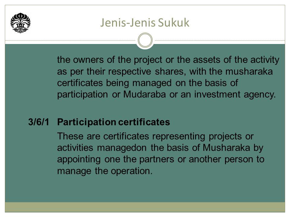 Jenis-Jenis Sukuk 3/6/1 Participation certificates