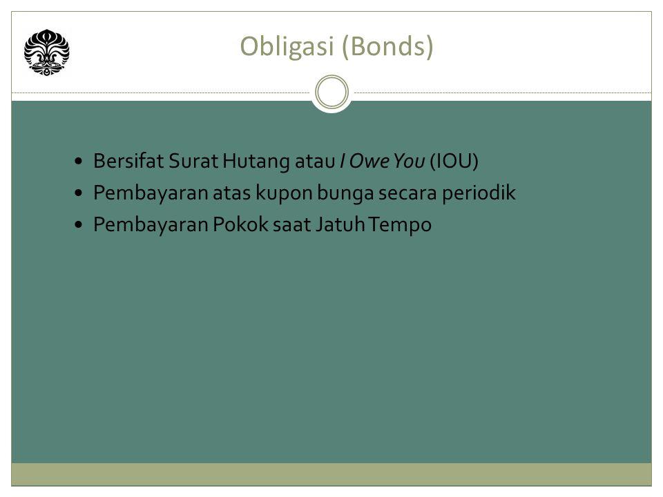 Obligasi (Bonds) Bersifat Surat Hutang atau I Owe You (IOU)