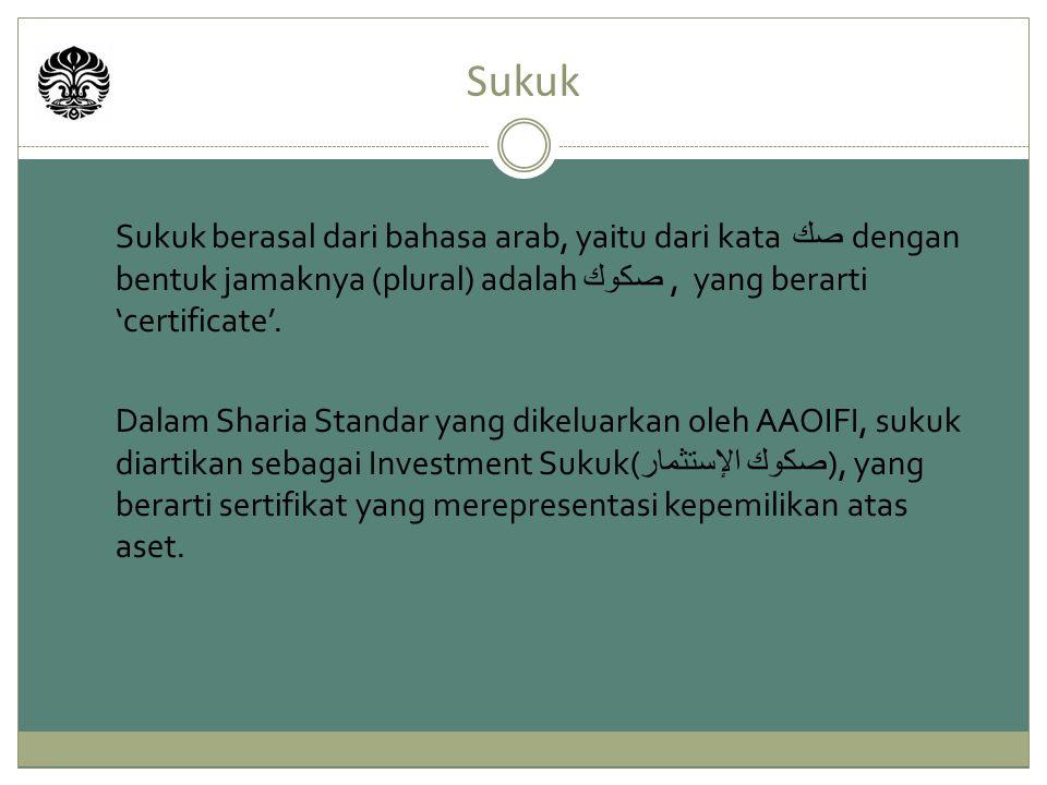 Sukuk Sukuk berasal dari bahasa arab, yaitu dari kata صك dengan bentuk jamaknya (plural) adalah صكوك , yang berarti 'certificate'.