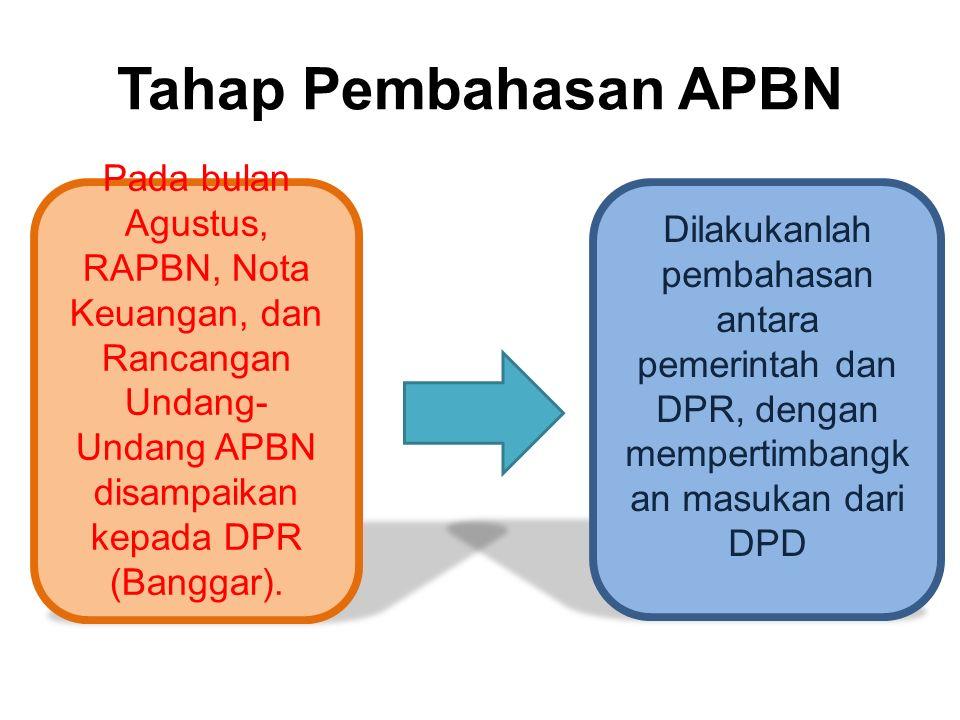 Tahap Pembahasan APBN Pada bulan Agustus, RAPBN, Nota Keuangan, dan Rancangan Undang-Undang APBN disampaikan kepada DPR (Banggar).