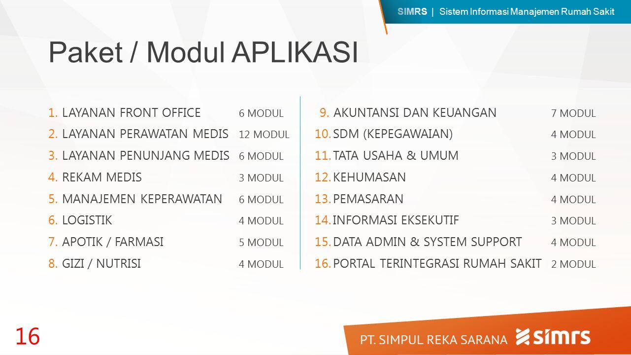 Paket / Modul APLIKASI LAYANAN FRONT OFFICE 6 MODUL