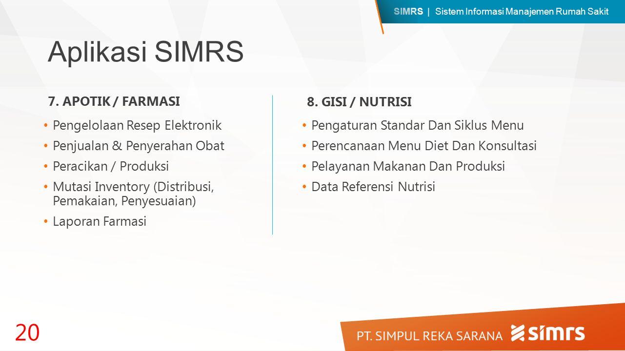 Aplikasi SIMRS 7. APOTIK / FARMASI 8. GISI / NUTRISI