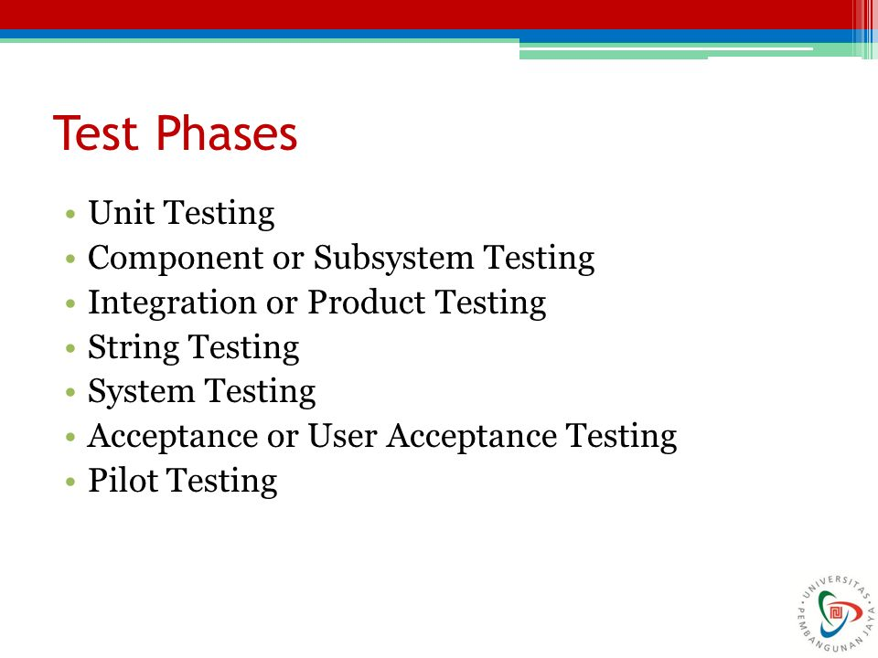 Test Phases Unit Testing Component or Subsystem Testing