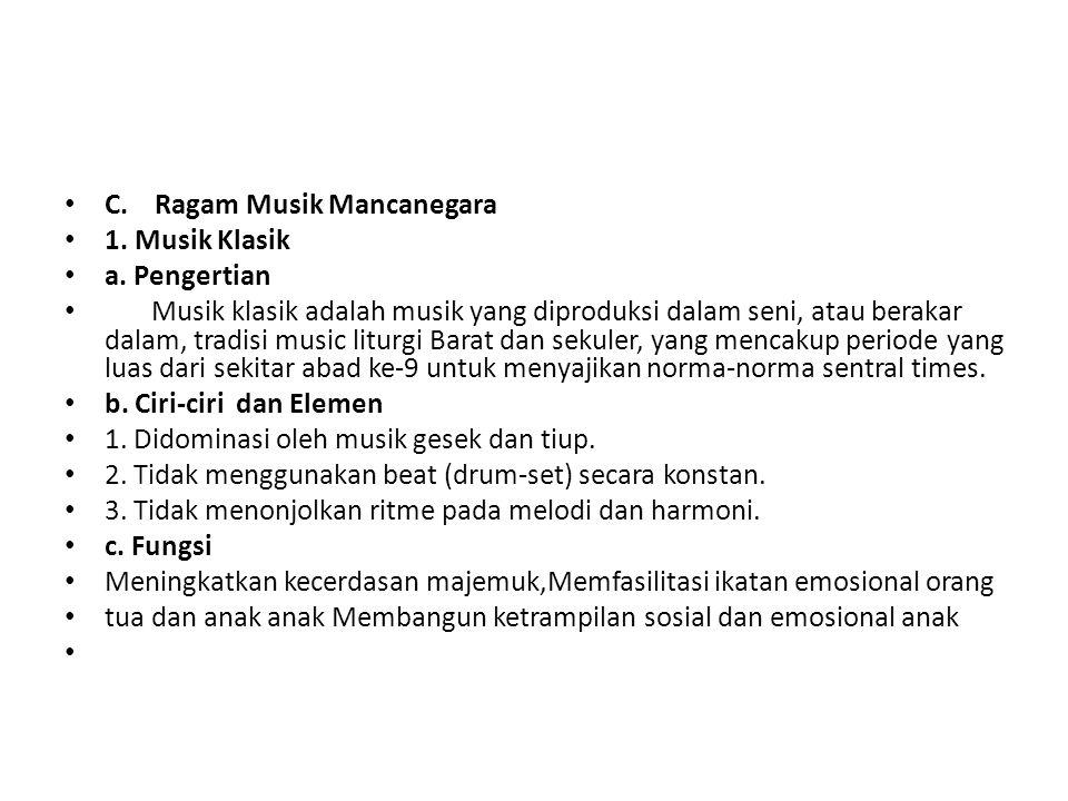 C. Ragam Musik Mancanegara
