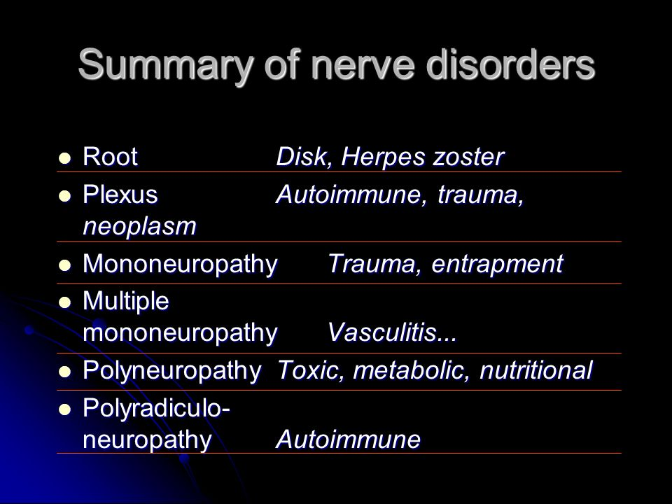 Summary of nerve disorders