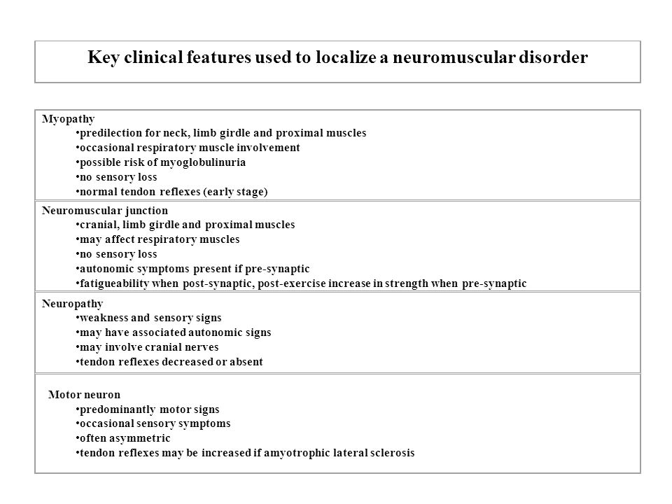 Key clinical features used to localize a neuromuscular disorder