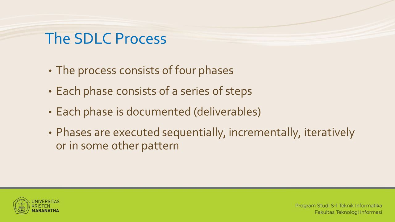 The SDLC Process The process consists of four phases