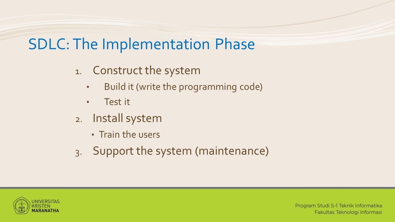 SDLC: The Implementation Phase