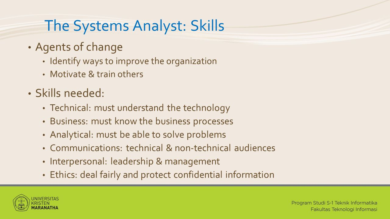 The Systems Analyst: Skills
