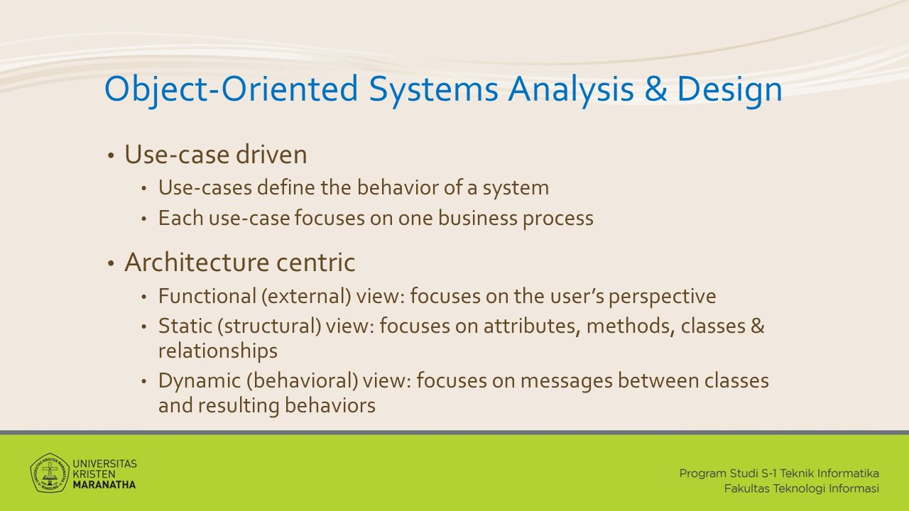 Object-Oriented Systems Analysis & Design