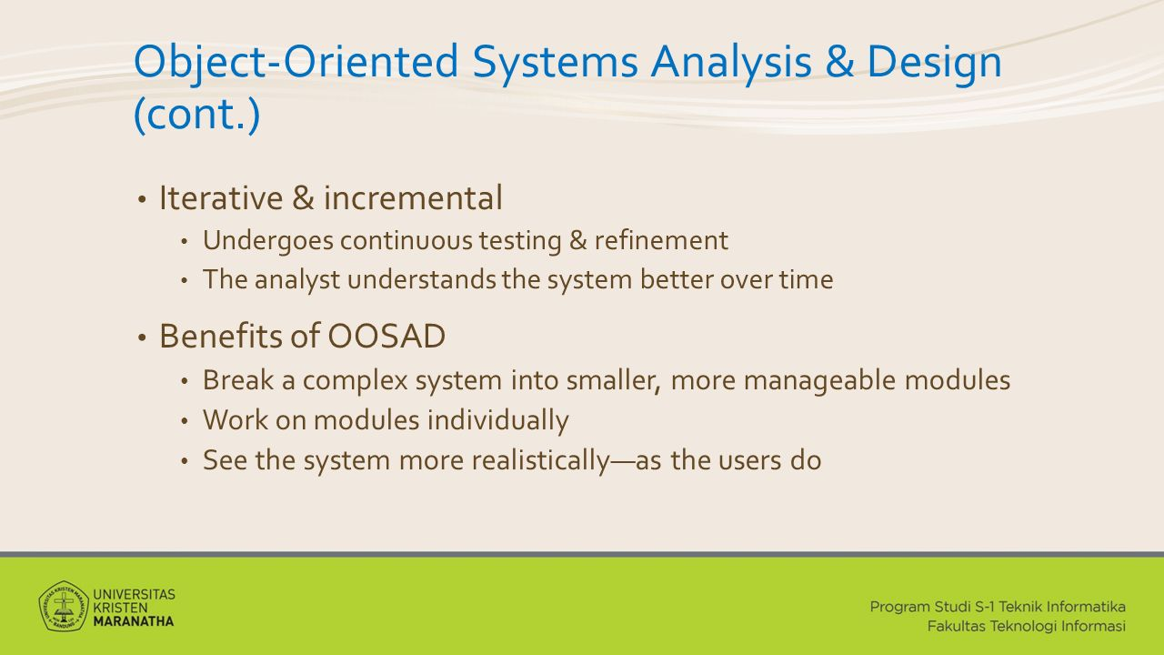 Object-Oriented Systems Analysis & Design (cont.)
