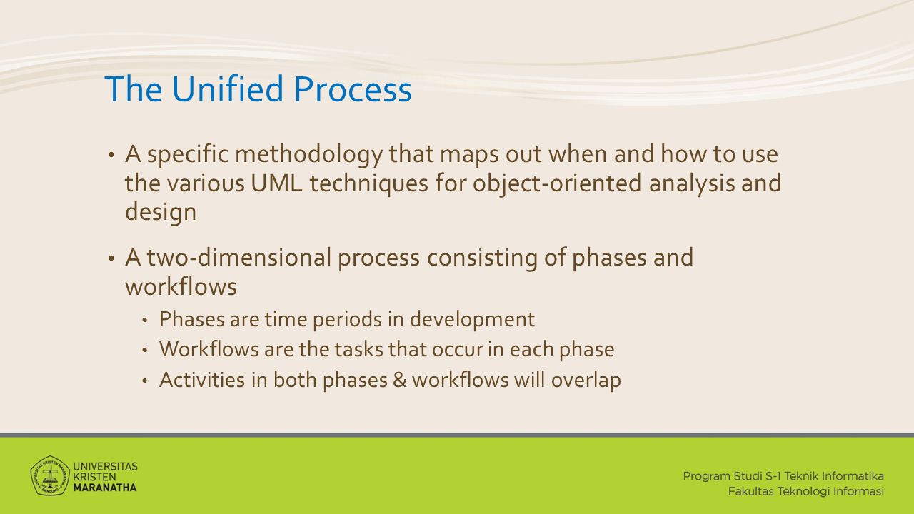 The Unified Process A specific methodology that maps out when and how to use the various UML techniques for object-oriented analysis and design.