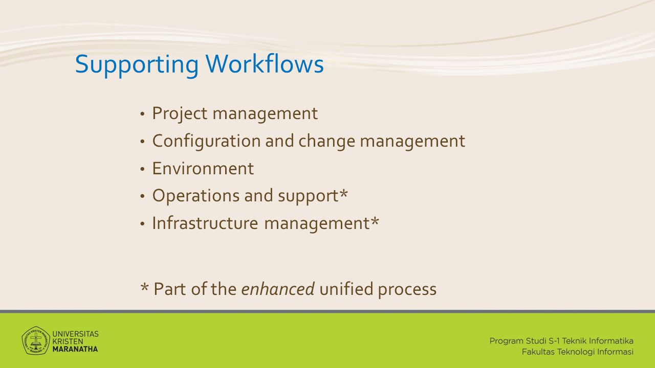 Supporting Workflows Project management